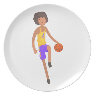 Basketball Player Running With Ball Action Sticker Plate