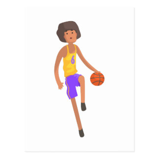 Basketball Player Running With Ball Action Sticker Postcard