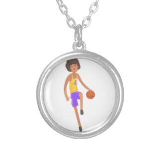 Basketball Player Running With Ball Action Sticker Silver Plated Necklace