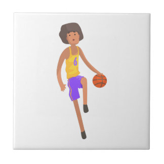 Basketball Player Running With Ball Action Sticker Tile