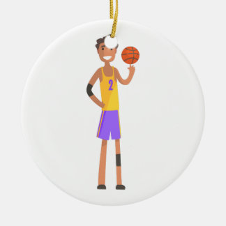 Basketball Player Turning Ball On A Finger Action Ceramic Ornament