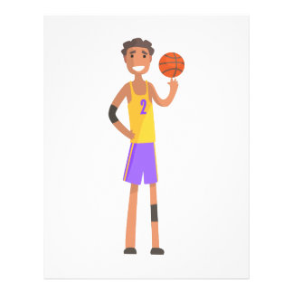 Basketball Player Turning Ball On A Finger Action Letterhead