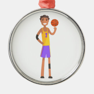 Basketball Player Turning Ball On A Finger Action Metal Ornament