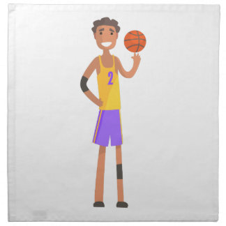 Basketball Player Turning Ball On A Finger Action Napkin