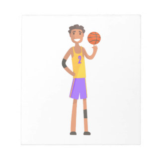 Basketball Player Turning Ball On A Finger Action Notepad