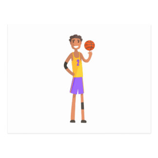Basketball Player Turning Ball On A Finger Action Postcard