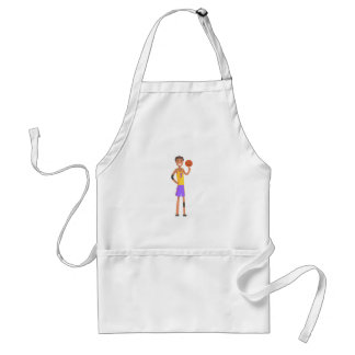 Basketball Player Turning Ball On A Finger Action Standard Apron