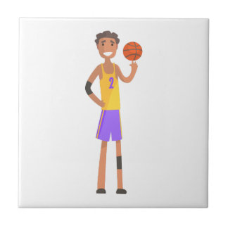 Basketball Player Turning Ball On A Finger Action Tile