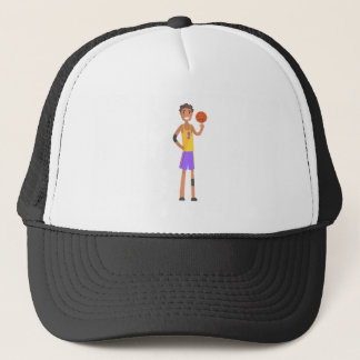 Basketball Player Turning Ball On A Finger Action Trucker Hat