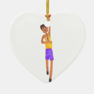 Basketball Player With The Ball Action Sticker Ceramic Ornament