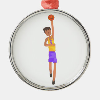 Basketball Player With The Ball Action Sticker Metal Ornament