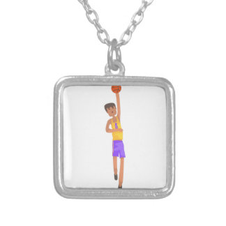 Basketball Player With The Ball Action Sticker Silver Plated Necklace
