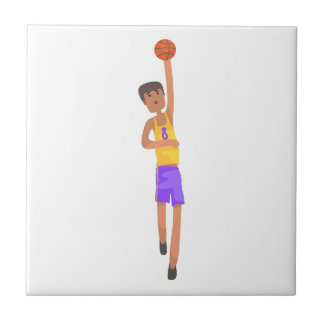 Basketball Player With The Ball Action Sticker Tile