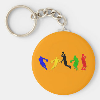 Basketball players hoops   basketball basic round button keychain