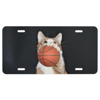 Basketball playing tabby cat license plate