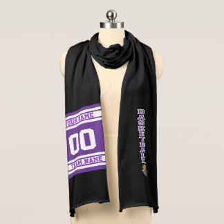 Basketball Purple Letter  - Personalize Scarf