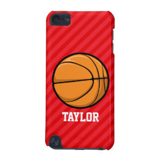 Basketball; Scarlet Red Stripes iPod Touch (5th Generation) Covers