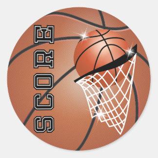 Basketball Score in Orange Brown Round Sticker