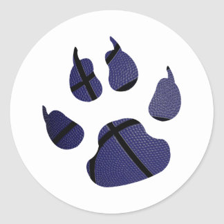 Basketball Shaped In Claw Royal Blue Round Sticker