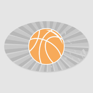 basketball simple vector graphic oval sticker