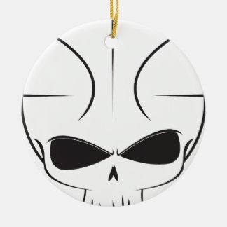 Basketball Skull Round Ceramic Ornament