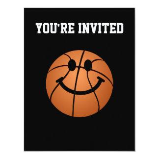 "Basketball smiley face 4.25"" x 5.5"" invitation card"