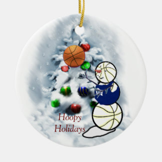 Basketball Snowman Christmas Round Ceramic Ornament