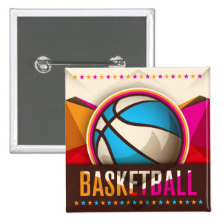 Basketball Sport Ball Game Cool Abstract 2 Inch Square Button