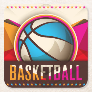 Basketball Sport Ball Game Cool Abstract Square Paper Coaster