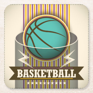 Basketball Sport Ball Game Cool Square Paper Coaster