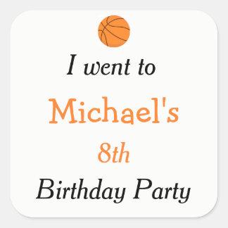 Basketball Sports Orange Birthday 'I went to' Square Sticker