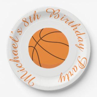Basketball Sports Orange Birthday Paper Plate