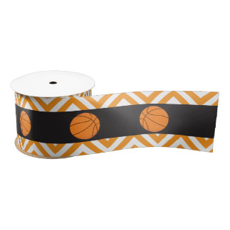 Basketball Sports Orange Birthday Satin Ribbon