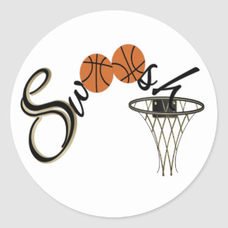 Basketball Swoosh Classic Round Sticker