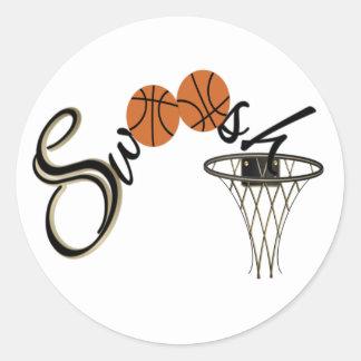 Basketball Swoosh Round Sticker