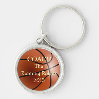 Basketball Team Coach- Personalize It! Silver-Colored Round Keychain