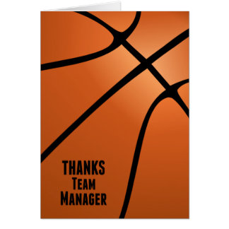 Basketball Thanks Team Manager Customizable Blank Card