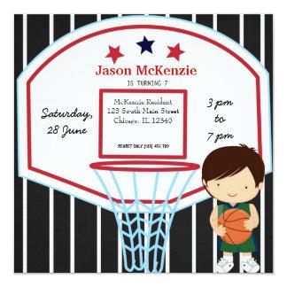 "Basketball theme 5.25"" square invitation card"