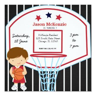 Basketball theme 5.25x5.25 square paper invitation card