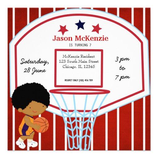 Basketball theme personalized invites