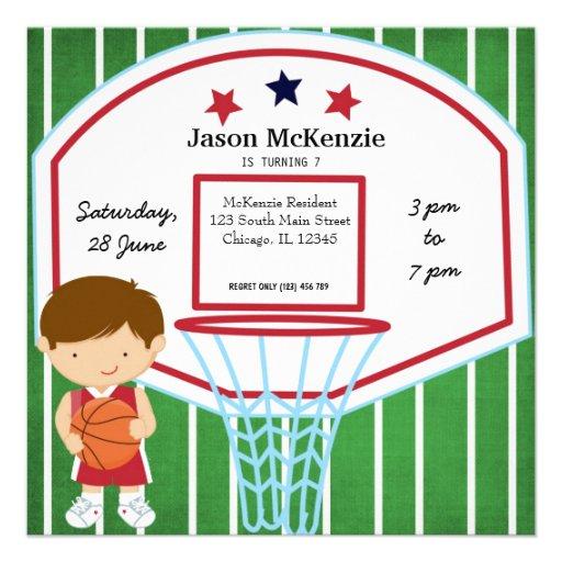 Basketball theme invitations