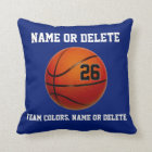 Basketball Throw Pillows Your Colours 3 Text Boxes