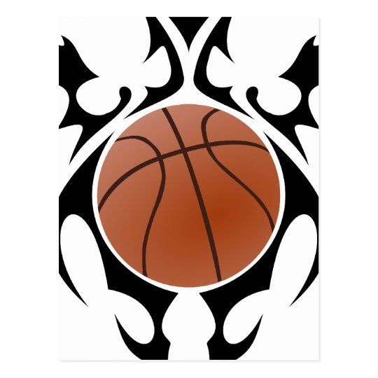 basketball. tribal. postcard