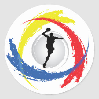 Basketball Tricolor Emblem Round Sticker