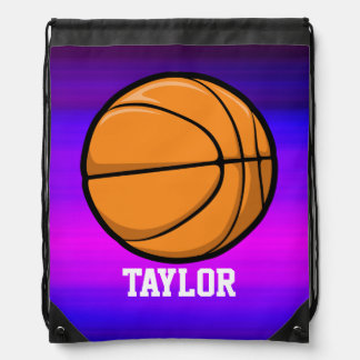 Basketball; Vibrant Violet Blue and Magenta Drawstring Bags