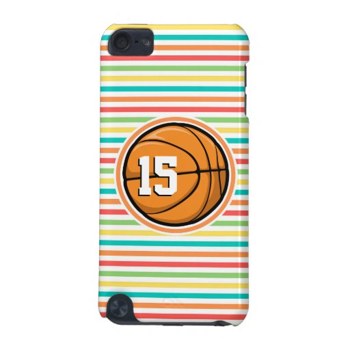 Basketball with Number; Bright Rainbow Stripes iPod Touch (5th Generation) Covers