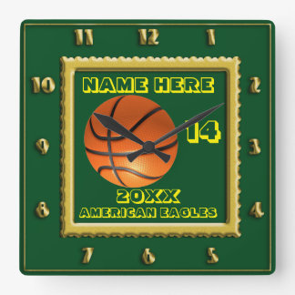 Basketball with Player Name green Square Wall Clock