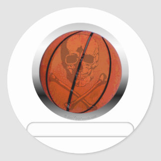 Basketball with Skull- Personalized Classic Round Sticker