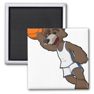 Basketball Wolf Square Magnet