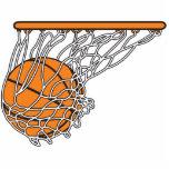 basketball woosh ball in net vector illustration standing photo sculpture
